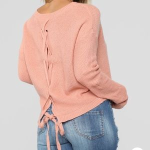 Lia lace up back sweater